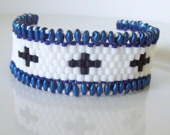Beaded bracelet , White beaded bracelet , Beadwork bracelet, Seed bead bracelet , Beaded cuff bracelet , superduo bracelet , Woven bracelet