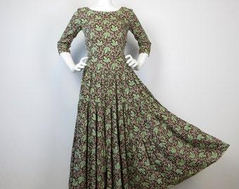 Vintage Oktoberfest Cotton Full Skirt Fall Colors Dress, Sz S