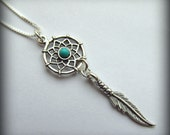 Dream Catcher Necklace Dreamcatcher in 925 Sterling Silver with Turquoise Bead on 18 Inch Sterling Silver Chain