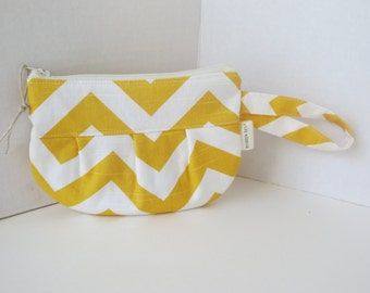 Yellow Chevron - Zip Pouch - Chevron Pouch - Zip bag - Little clutch