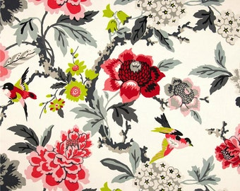 "Red Black Draperies, Bird Theme Curtain Panels, Floral Rod-Pocket Curtains, Custom Window Curtains, One Pair 50""W"