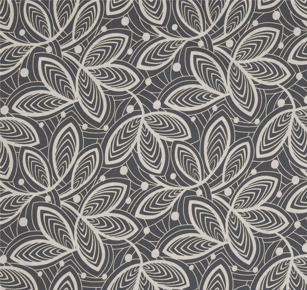 Dark Grey Shower Curtain Hipster Leaf Print Shower Curtain