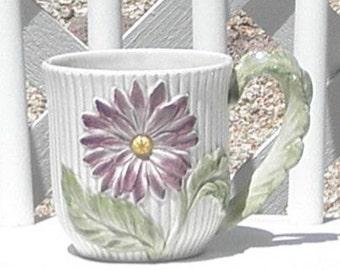 Purple Daisy Flower Mug Cup Vintage