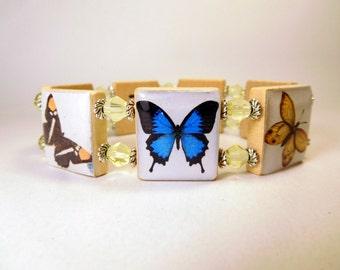 """BUTTERFLY Scrabble Bracelet - Tiles SPELL """"FLUTTER"""" Inside / Swallowtail - Monarch / Unusual Handmade Gift / Jewelry  - Jewellry"""