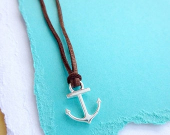 2-DAY 20% OFF SALE Silver tone anchor necklace on Leather cord, friendship necklace with anchor charm, silver anchor, best friend gift, Bff,