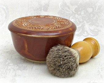 Hand Carved Lidded Shaving Bowl in Rusty Brown