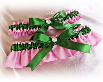Wedding Bridal Garters Tickled Pink and and Green Wedding Colors, bridal accessories or prom garters