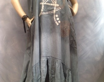 Timehri Manioc Mother Lagenlook layered tunic top one of a kind dress plus size L-XL