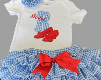 Set Headband plus Dorothy Wizard of Oz Ruby Red Slippers Classic Style Sassy Pants Bloomer Bodysuit or Shirt Appliqued