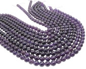 Amethyst Beads, Smooth Round, 9mm Round, February Birthstone, SKU 4448A