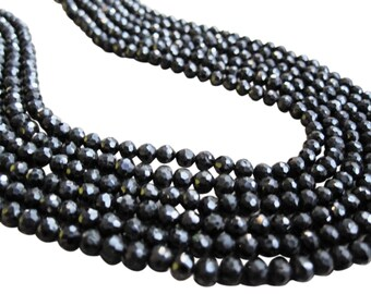 Black Spinel Beads, Luxe AAA, 3.5mm Faceted Round, Spinel Round, Black Gemstone, Loveofjewelry, SKU 3658