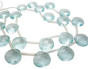 Aqua Quartz Beads Briolettes, Faceted Briolettes, Blue Quart Beads, 13mm, Blue Quartz Briolettes, SKU 4005A