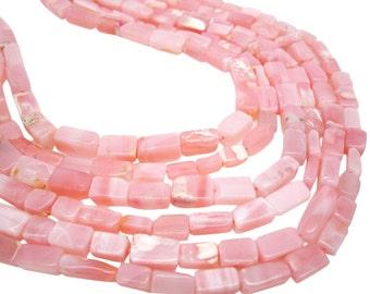 Pink Opal Beads, Pink Peruvian Opal, Peruvian Pink Opal, Rectangle Shape, SKU 4168A