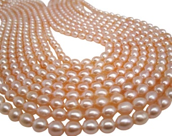 Peach Pearls, Peach Color Freshwater Pearls, Rice Shape, SKU 4716