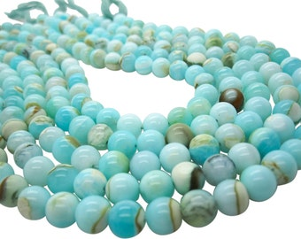 Blue Peruvian Opal Beads, Peruvian Opal Beads, Blue Opal Beads, Round, Aqua Gemstone, Wholesale Opal, SKU 5102