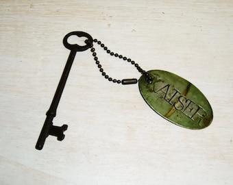 Antique KEY Kaiser Tag Victorian 19th century door hardware iron brass