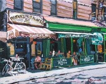 Cafe Reggio Mamouns Falafel Washington Square MacDougal Street New York Art NYC Art Cafe Life Greenwich Village Cityscape Painting