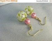 flower pomander ball earrings ... elegant and lovely lampwork glass dangles