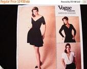 October Sale 25% OFF 80s VOGUE Designer Pattern Donna Karan DKNY size 12 Bust 34 Uncut Womens Evening Dress Bodysuit, Wrap Top, Skort Sewing