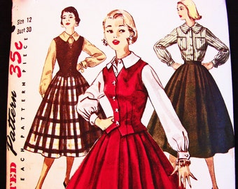Vintage 1950s Simplicity Womens Full Skirt size 12 Sewing Pattern Large Collar Long Sleeve Blouse Skirt and Fitted Vest Weskit