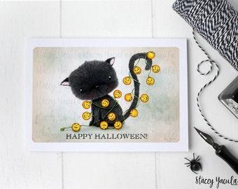 "greeting card - card - black cat - cat - jack-o-lantern - pumpkin - halloween  - ""Charmed!"""