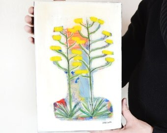 Original abstract desert Century Plant landscape painting on wood panel covered with resin, Cactus love painting