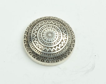 Button , flat back antique silver finish,  sold 3 per package 09512AS