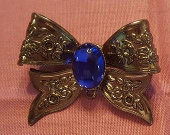 Bow Brooch Large Blue Glass Cobechon Vintage