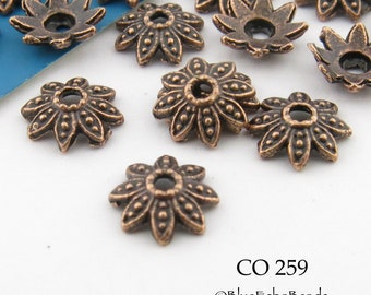 7mm Antiqued Copper Bead Cap, Flower Bead Cap (CO 259) 36 pcs