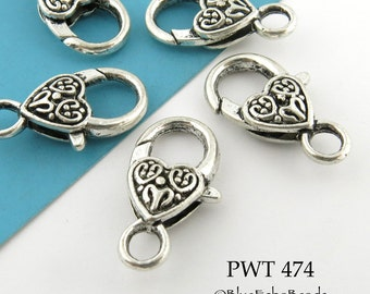 Large Pewter Celtic Heart Lobster Clasp, Antiqued Silver, 25 mm x 13 mm (PWT 474)  3 pieces BlueEchoBeads