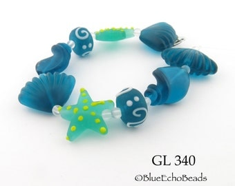 Green and Dark Aqua Beach Glass Beads, Star Fish Shell Frosted Glass Multi Bead Strand Sea Glass (GL 340) BlueEchoBeads