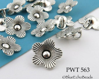 14mm Pewter Flower Charm Beads, Antique Silver (PWT 563) 12 pcs BlueEchoBeads