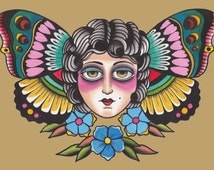 Traditional tattoo butterfly lady print!