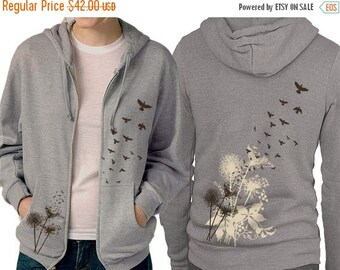 CLEARANCE SALE Dandelions Hoodie - Birds Flying - Grey Zip Hoodie - Graphic hoodie, Gift for Him, Gift for Her