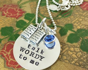 Talk Wordy to Me hand stamped sterling silver necklace - book lover necklace