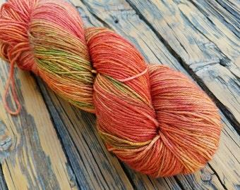 """450 yards - """"Tomato Reincarnate"""" - 80/20 Superwash Merino/Tussah Silk Fingering Weight"""