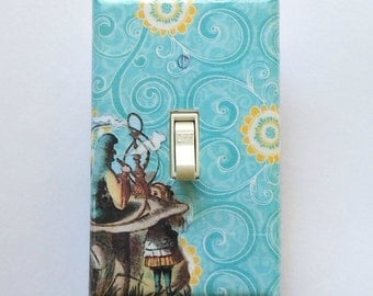Alice outlet covers w/ MATCHING SCREWS- Alice in Wonderland bedroom Alice outlet covers Alice wall decoration electrical outlets caterpillar