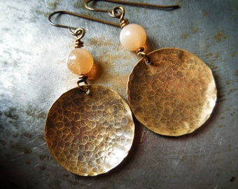Rustic sunstone and brass earrings, natural gemstone earrings, sunstone gem stone, primitive simple jewelry, solid brass, ethnic tribal look