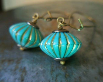 Turquoise earrings, long dangle earrings, vintage lucite beads, antique brass, blue green flower, pumpkin blue romantic womens dangle drops