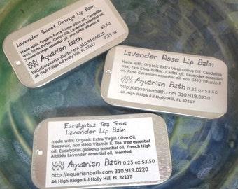 Set of 3 Lavender Lip balm varieties - lip balm sampler set - plastic free - 0.25 oz slide tin