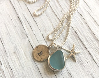 Last Minute Gift Personalized Sea Glass Charm Necklace Initial Necklace with Beach Charms