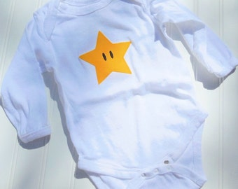 READY TO SHIP Great Costume / Baby Shower Gift Inspired by Mario Star sewn cotton applique long sleeve bo