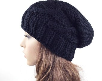 Hand knit hat winter hat Chunky Wool Hat slouchy hat Black cable hat