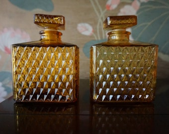 Vintage Set of Two Amber Glass Decanters