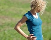 "Organic Hemp Clothing - Women's Hemp Scoop Neck Shirt - cap sleeve ""The Scooper"""