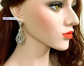 Teardrop Bridal Earrings, Statement Wedding Earrings, Cz Drop Earrings, Dangle Wedding Jewelry, Crystal Bridal Jewelry, Gift for Her, OSCAR