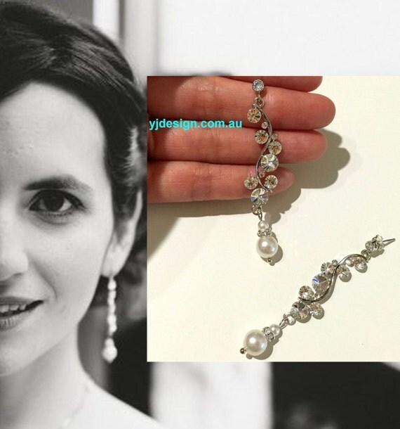 Vines Bridal Earrings, Pearl Drop Wedding Earrings, Swarovski Wedding Jewelry, Dangle Earrings, Crystal Bridal Jewelry, Gift for Her, TWINE
