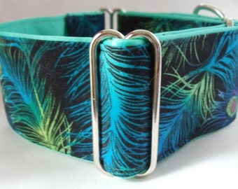 Turquoise and Green Peacock Feathers on Black Greyhound, Whippet, Galgo, Pit Bull, Dog, Great Dane, Sighthound Martingale Collar
