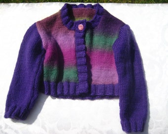 Hand knitted little girl's cardigan, pure wool, 1-2 years