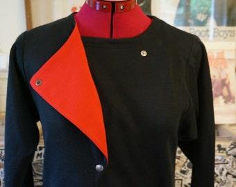 vintage 80s dress black red asymmetric collar 1980 new wave avant garde